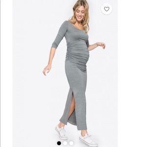 Gray maternity maxi dress
